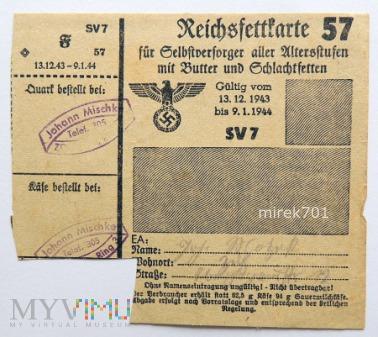Kartka żywnościowa 1943 - 44 Zülz