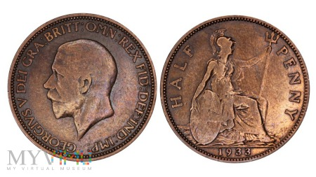 Wielka Brytania, half penny 1933