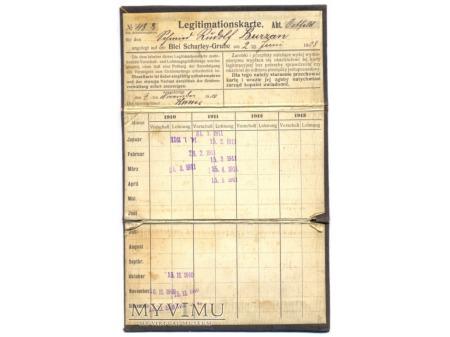 Kopalnia Szarlej Biały - karta legitymacyjna 1908