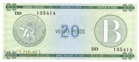 Duże zdjęcie Kuba - 20 pesos (1985)