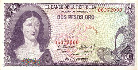 Kolumbia - 2 pesos oro (1973)