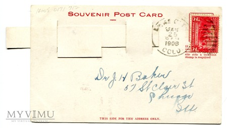 """1908 Diabeł - pocztówka mechaniczna """" mówiąca """""""