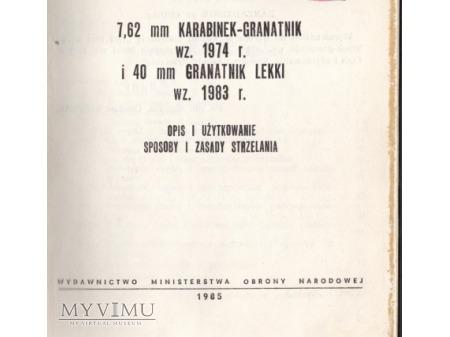 INSTRUKCJA 40 mm GRANATNIK wz.74 i wz.83