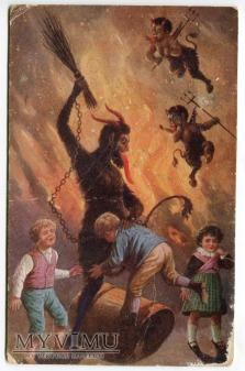 Diabeł KRAMPUS i dzieci karcone stara pocztówka