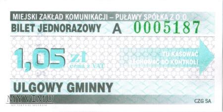 Bilet Jednorazowy A Ulgowy Gminny - Puławy