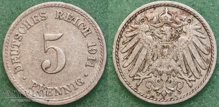 Niemcy, 1911, 5 pfennig
