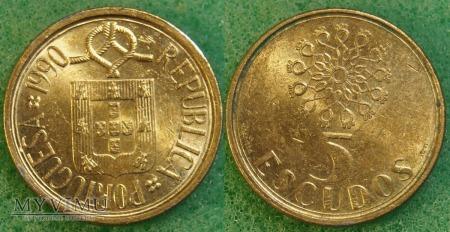 Portugalia, 5 ESCUDOS 1990