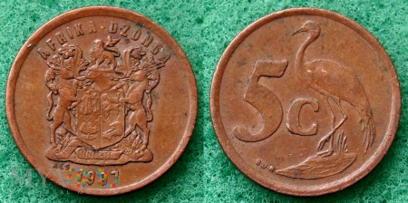 South Africa, 5 cents 1997 Dzonga