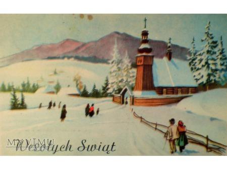 1949 Wesołych Świąt Krajobraz wiejski