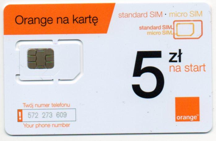 Karta Sim Orange Na Karte W Papierosy Zapalki I Inne Trafika