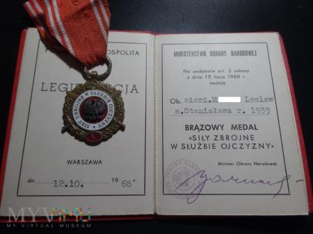 Legitymacja Medal Siły Zbrojne - Brązowy