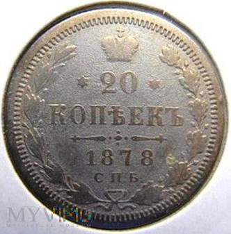 Duże zdjęcie 20 kopiejek 1878 r. Rosja