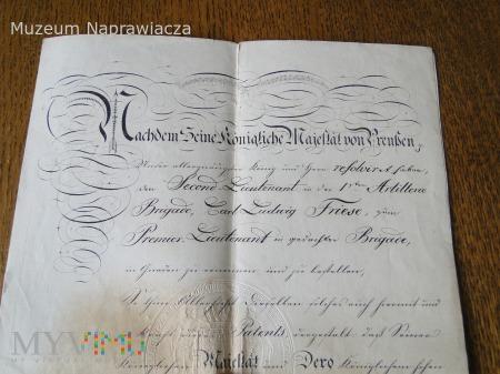 Patent oficerski z 1840 roku.