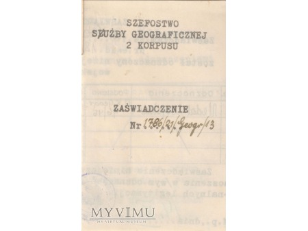 Legitymacja Krzyża Pamiątkowego MONTE CASSINO