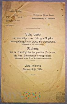 Spis osób na Górnym Śląsku plebiscyt