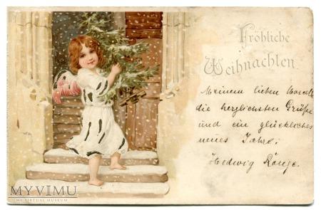 1901 Wesołych Świąt Angel litografa ANIOŁ Litho