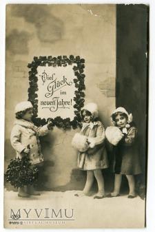 Duże zdjęcie Pocztówka NOWY ROK EAS Dzieci i ostrokrzew