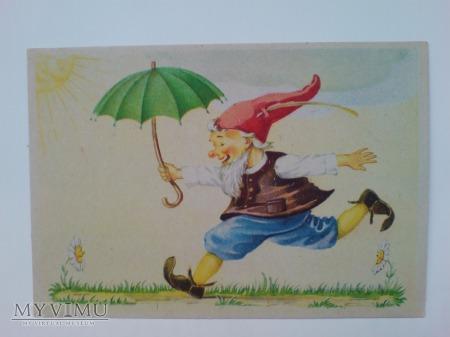 Fantasy Krasnal parasol POCZTÓWKA