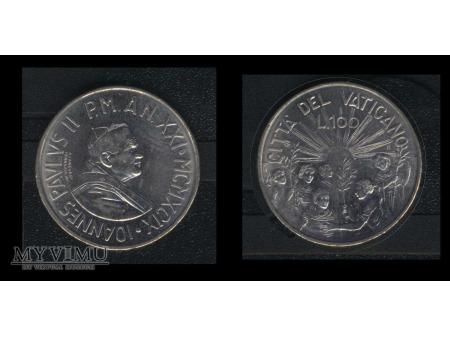 100 lirów JOANNES PAVLUS II MCMXCIX