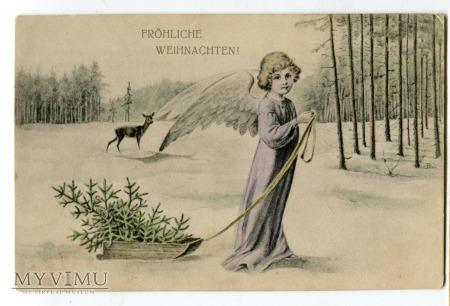 Fröhliche Weihnachten Angel ANIOŁ z sankami