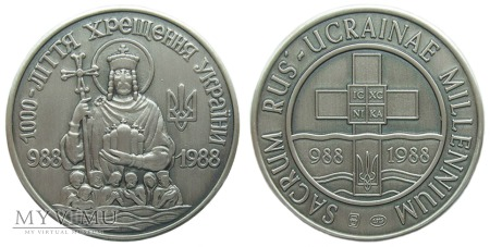 Millenium Chrztu Rusi-Ukrainy medal srebrny 1988