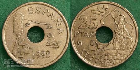 Hiszpania, 25 PESETAS 1998