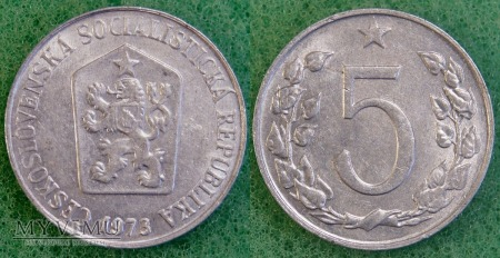 Czechosłowacja, 5 Haléřů 1973