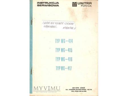 Instrukcja serwisowa gramofonu WG-414 do WG-417