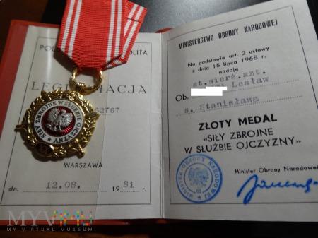 Legitymacja i Medal Siły Zbrojne - Złoty