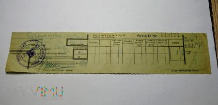 Pokwitowanie wpłaty 1941 rok