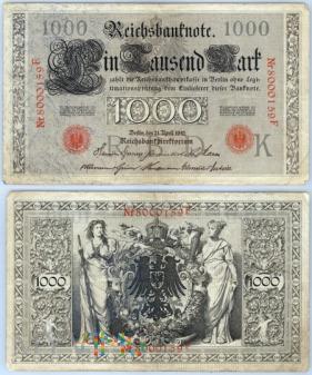 Niemcy, 1000 marek 1910r. Ser.F