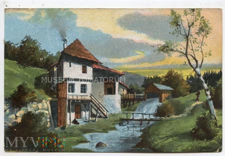 Widok wiejski - młyn wodny - 1906