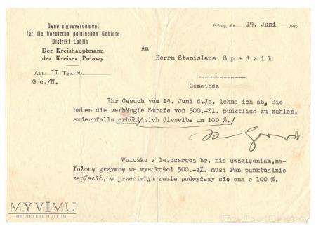 Odrzucenie wniosku, 19 czerwiec 1940 r.