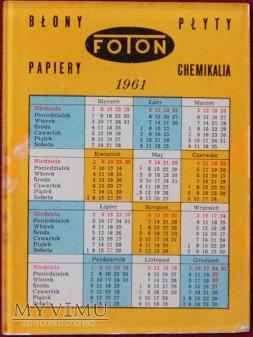 FOTON - kalendarzyk 1961 r.