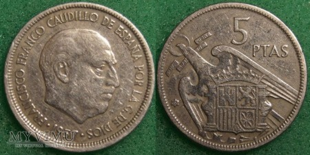 Hiszpania, 5 PTAS 1957
