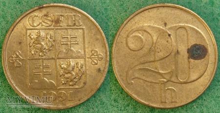 Czechosłowacja, 20 Haléřů 1991
