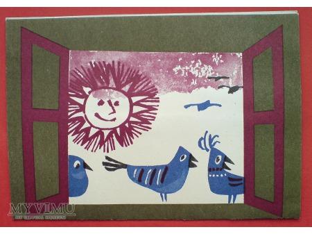 Ptaszki w Oknie TELEGRAM i życzenia c. 1970-te