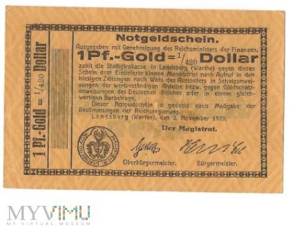 1 Pf.-Gold=1/420 Dollar Landsberg a.d Warthe