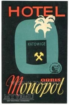 Nalepka hotelowa - Katowice - Hotel Monopol