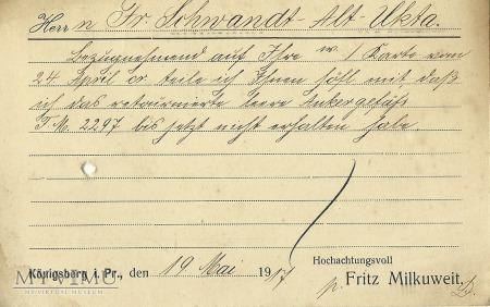 Fritz Milkuweit Konigsberg 1917 r.