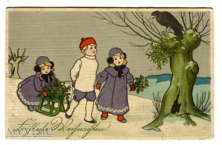Duże zdjęcie Wesołych Świąt Kruk na dzewie dzieci 1914