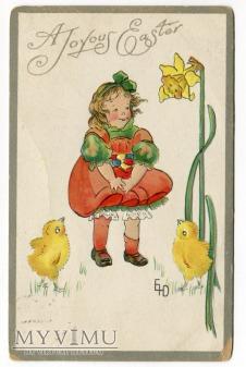 c. 1910 Dziecko WIELKANOC pisanki kurczaczki
