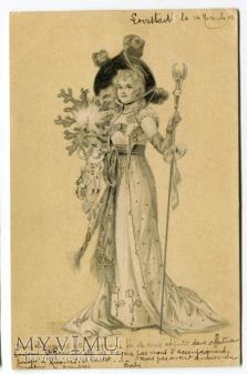 1902 Piękna wróżka czarodziejka stara pocztówka