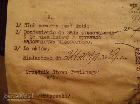 dokument ślubu z 1938 roku