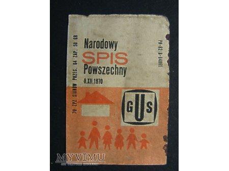 Etykieta - Narodowy Spis Powszechny 8.XII.1970