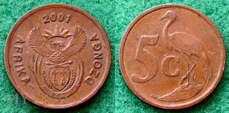 South Africa, 5 cents 2001 Dzonga