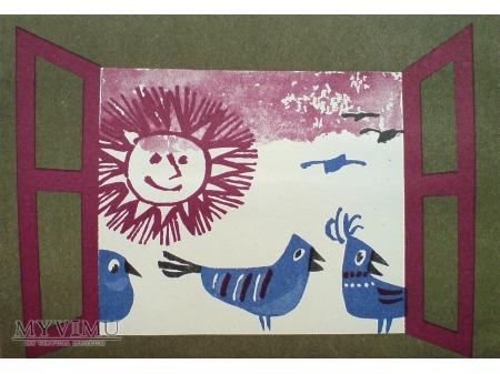 Duże zdjęcie Ptaszki w Oknie TELEGRAM i życzenia c. 1970-te