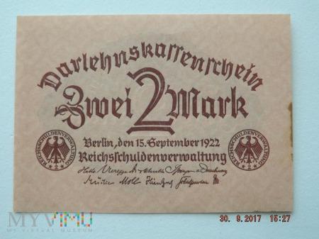 2 Mark - Zwei Mark 1922r.