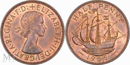 Wielka Brytania, half penny 1955