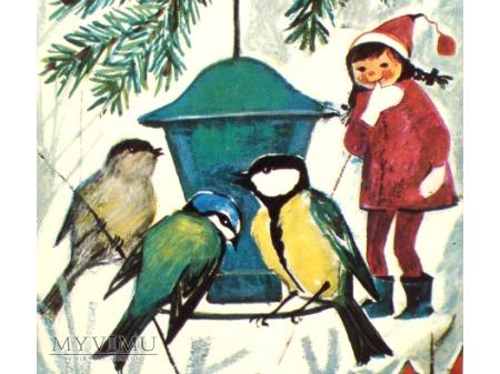 c. 1967 świąteczne śniadanie PTAKI Czesław Słania